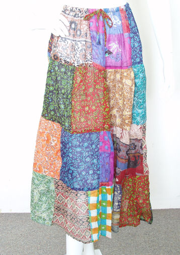 BoHo Pleasant Multi print Patchwork Skirt